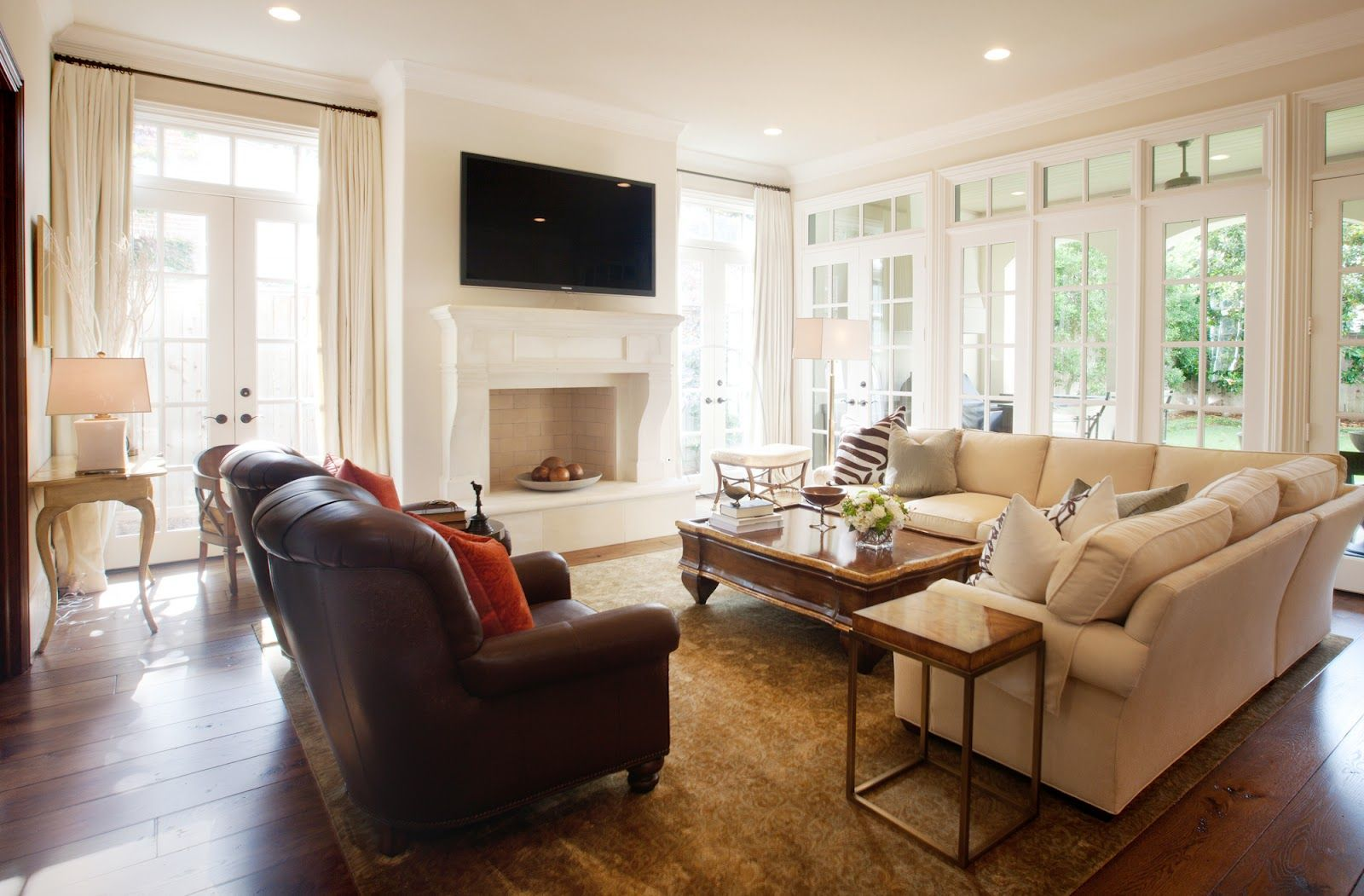 Marie Flanigan Interiors Sectional Sofa With French Doors
