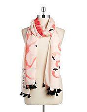 Take a Walk on the Wild Side Flamingo Pom Pom Scarf