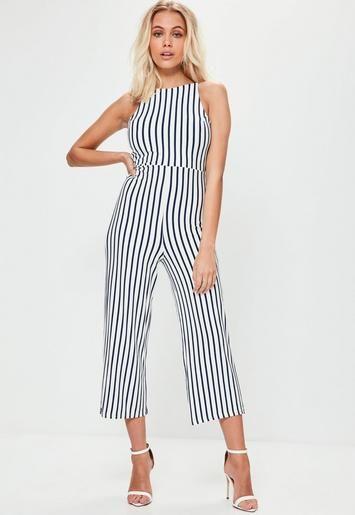 8f520b90433 White Jersey Stripe Jumpsuit