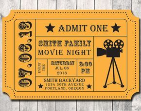 Movie Night Party Invitation Diy Digital File Printable
