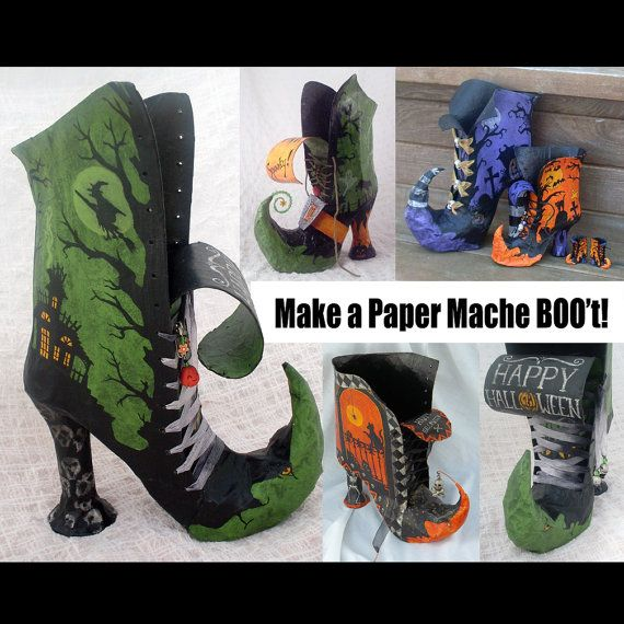halloween dcor witch boot diy halloween paper mache witch boot pdf tutorial pattern and instructions for how to make a witch boot container for