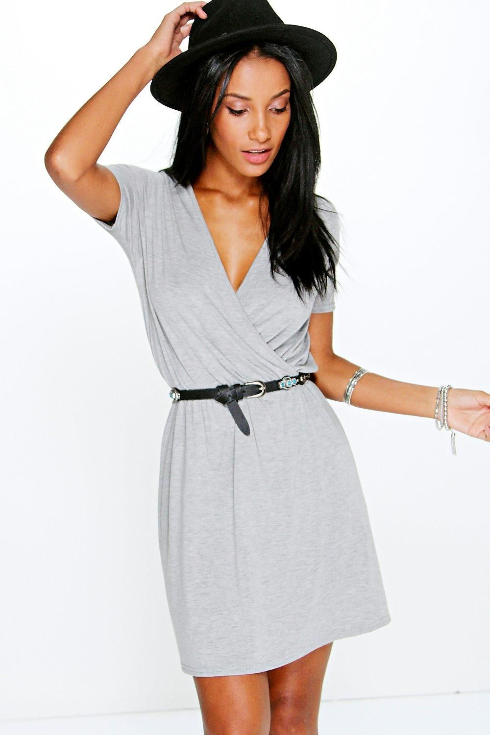 Jessie Cap Sleeve Wrap Skater Dress | Boohoo | Pinterest | Dresses ...