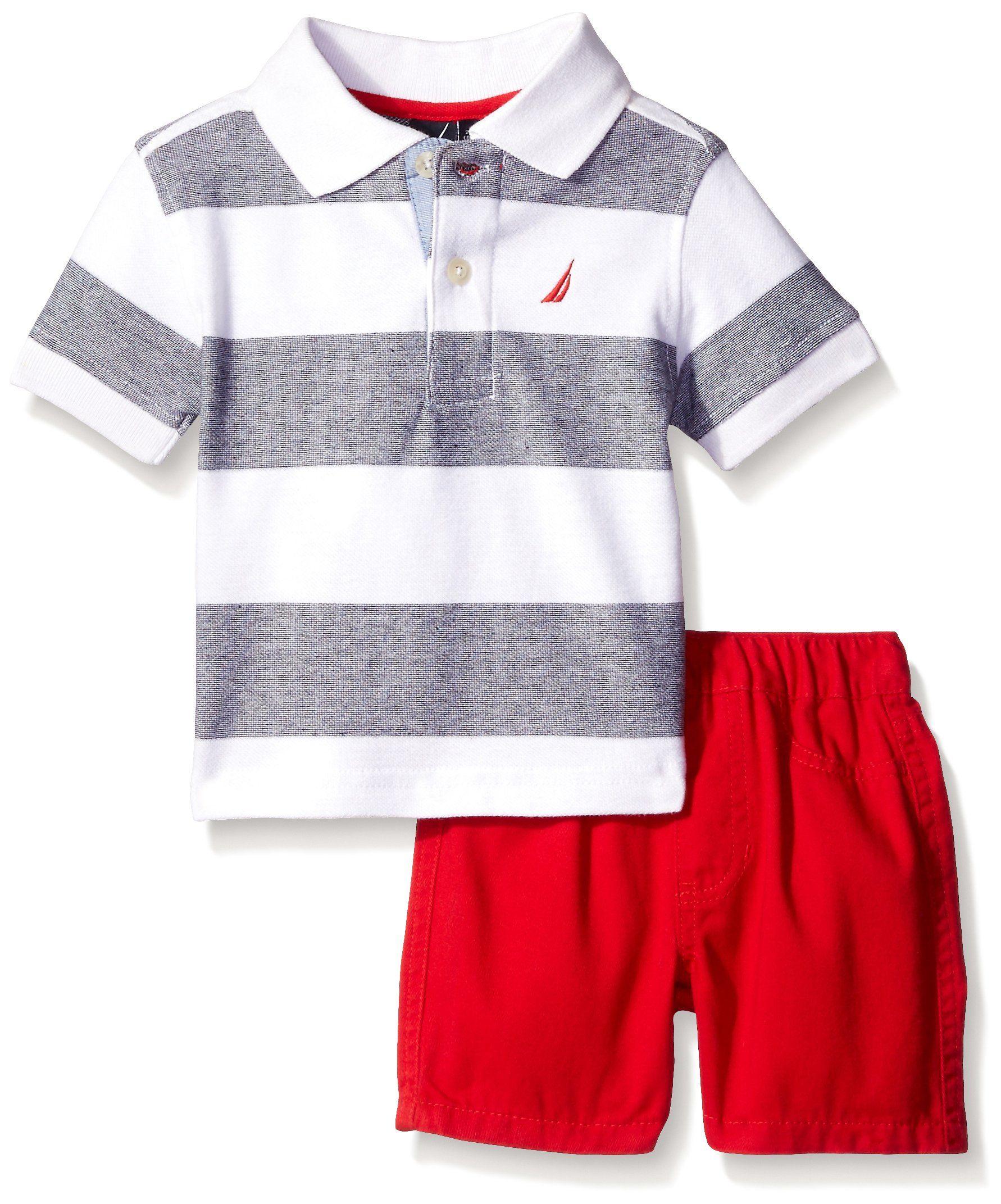 Nautica Baby 2 Piece Stripe Polo Set White 18 Months