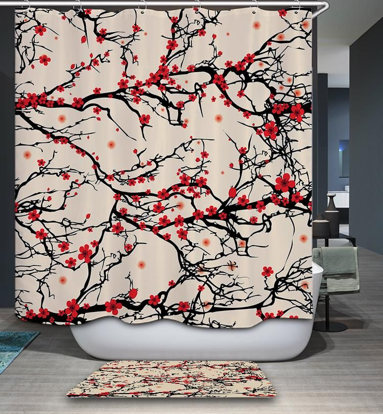 Chinese Burgundy Plum And Cherry Blossoms Shower Curtain Bathroom