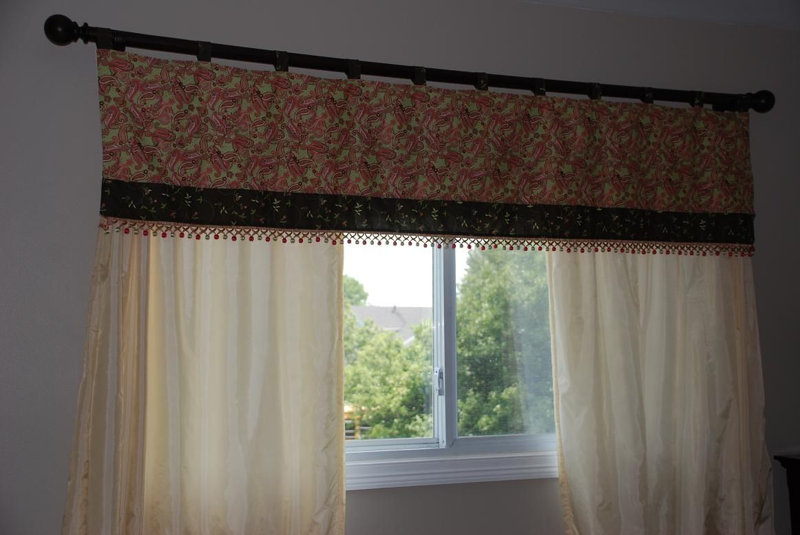 Brown Peach And Green Valance For Long Window Long Windows Home Decor