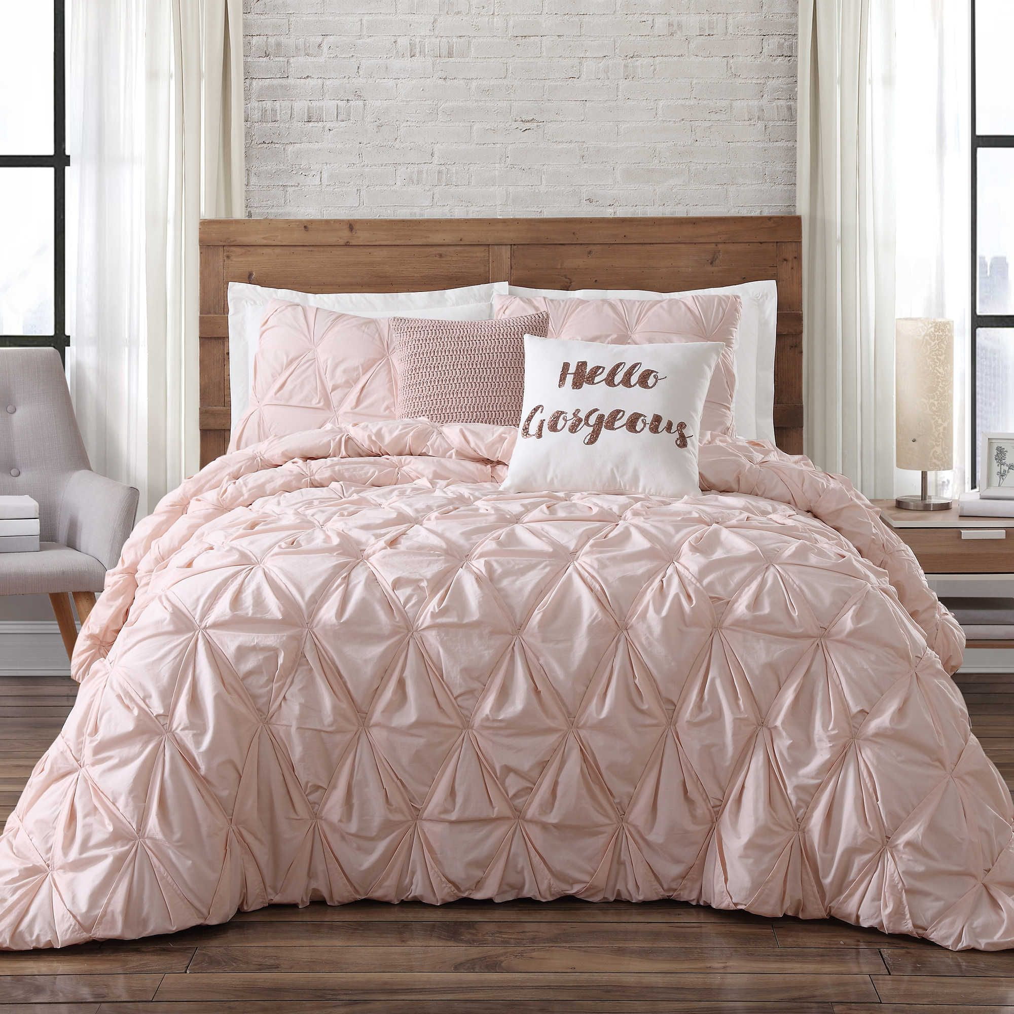 Brooklyn Loom Jackson Pleat Comforter Set Comforter Sets Pink Bedroom Decor Gold Bedding Sets