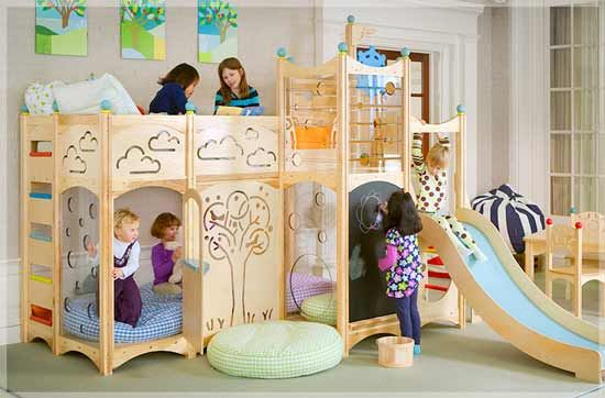I am currently obsessed with finding a bunk bed playhouse for H.  This one is a little more mod than I had been looking at.  I like it!