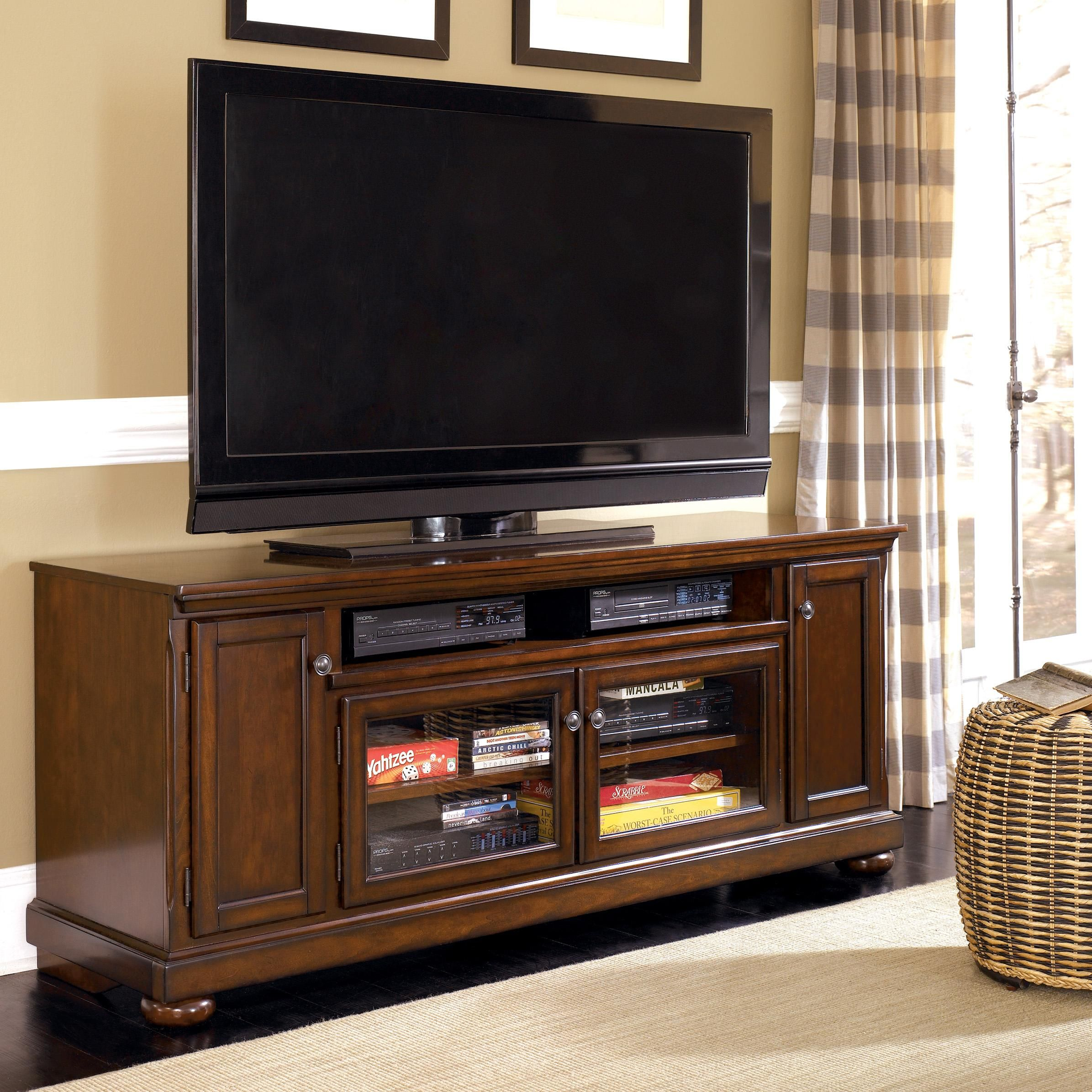 """Porter Transitional Cherry 72"""" Extra TV Stand by Millennium"""