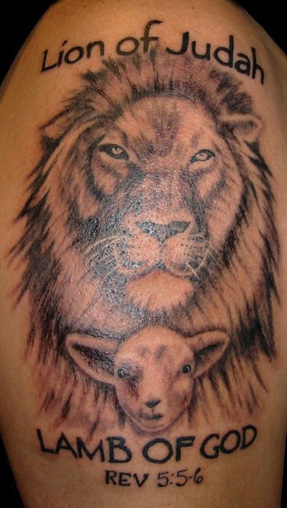 Lion And Lamb Tattoos For Women Tattoo Description A Black And