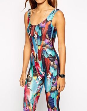 Jaded London Sleeveless Low Back Unitard In Feather Festival Print ... 52f38627b