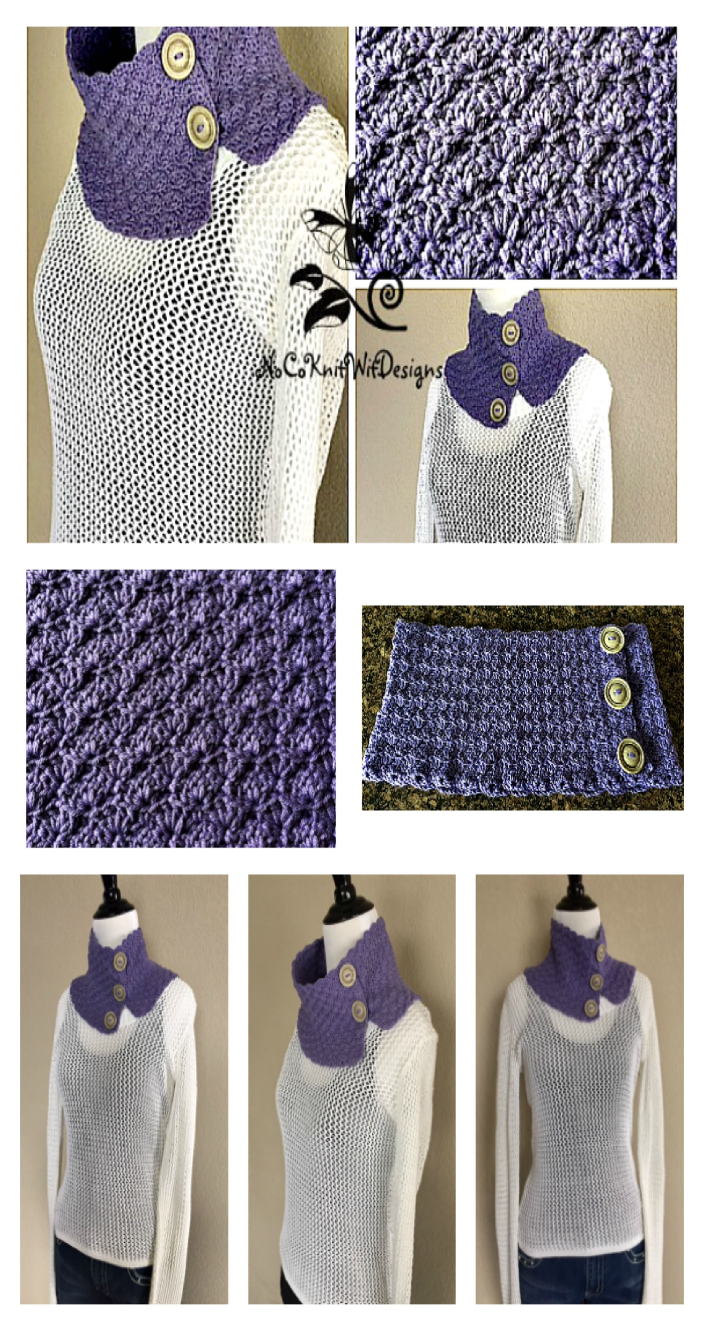 Crochet Cowl Pattern | Button Cowl Scarf | Neck Warmer | Circle ...