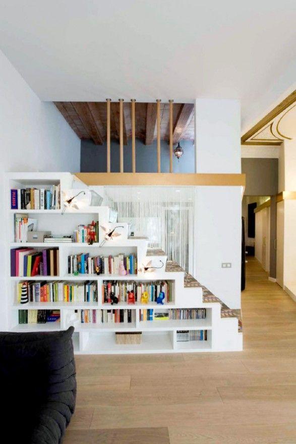 Stairs, bookshelves