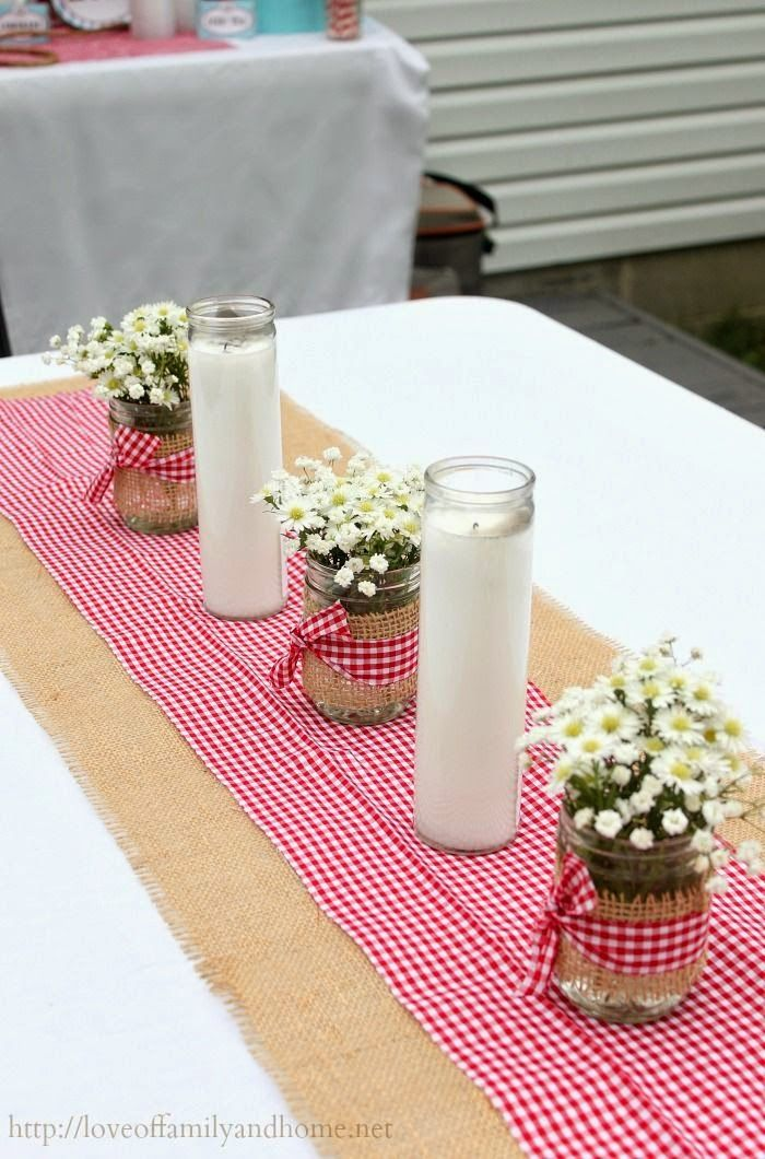 Gingham table runner perfect for a summer party set