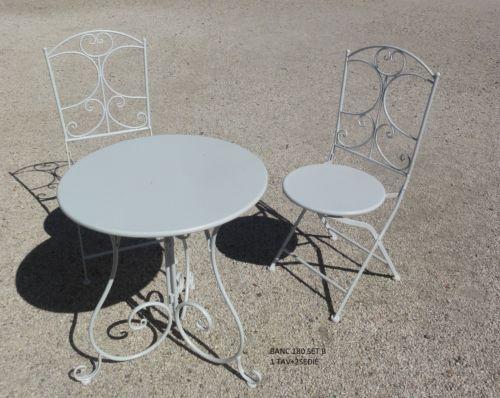 Provenzale Mobili ~ Sedia set2 sedie 1 tavolo mobile in ferro bianco vintage