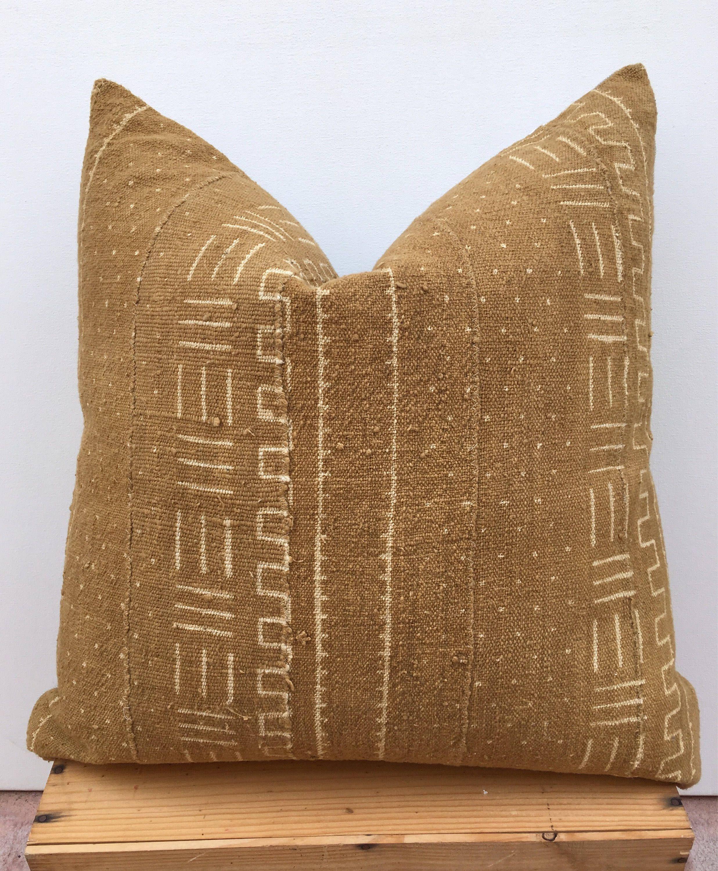 24 X 24 Mud Cloth Pillow Tobacco Color Boho Pillow New Linen Etsy Mud Cloth Mudcloth Pillow African Mud Cloth