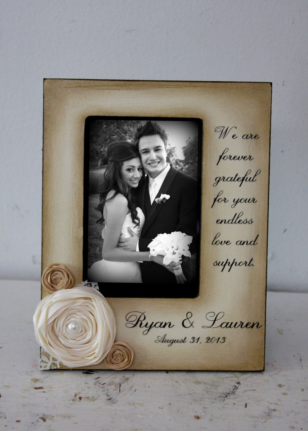 Wedding Distressed Vintage Picture 5x7 or 4x6 Thank you Parent Photo ...