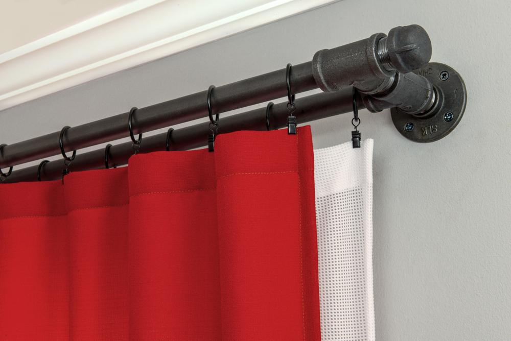 Industrial Pipe Double Curtain Rod Kit Black Steel Tee