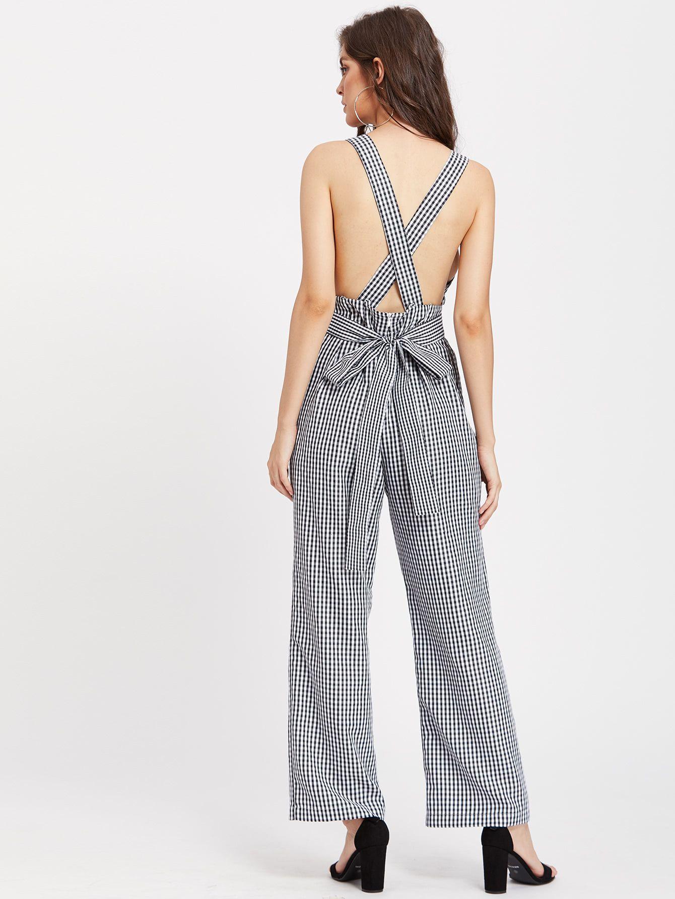 13855530075d7 Self Tie Crisscross Back Checkered Pinafore Jumpsuit -SheIn(Sheinside)