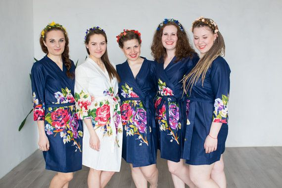 factory authentic meticulous dyeing processes online retailer Navy Blue Floral Bridesmaids Robes   Kimono Wraps Perfect ...