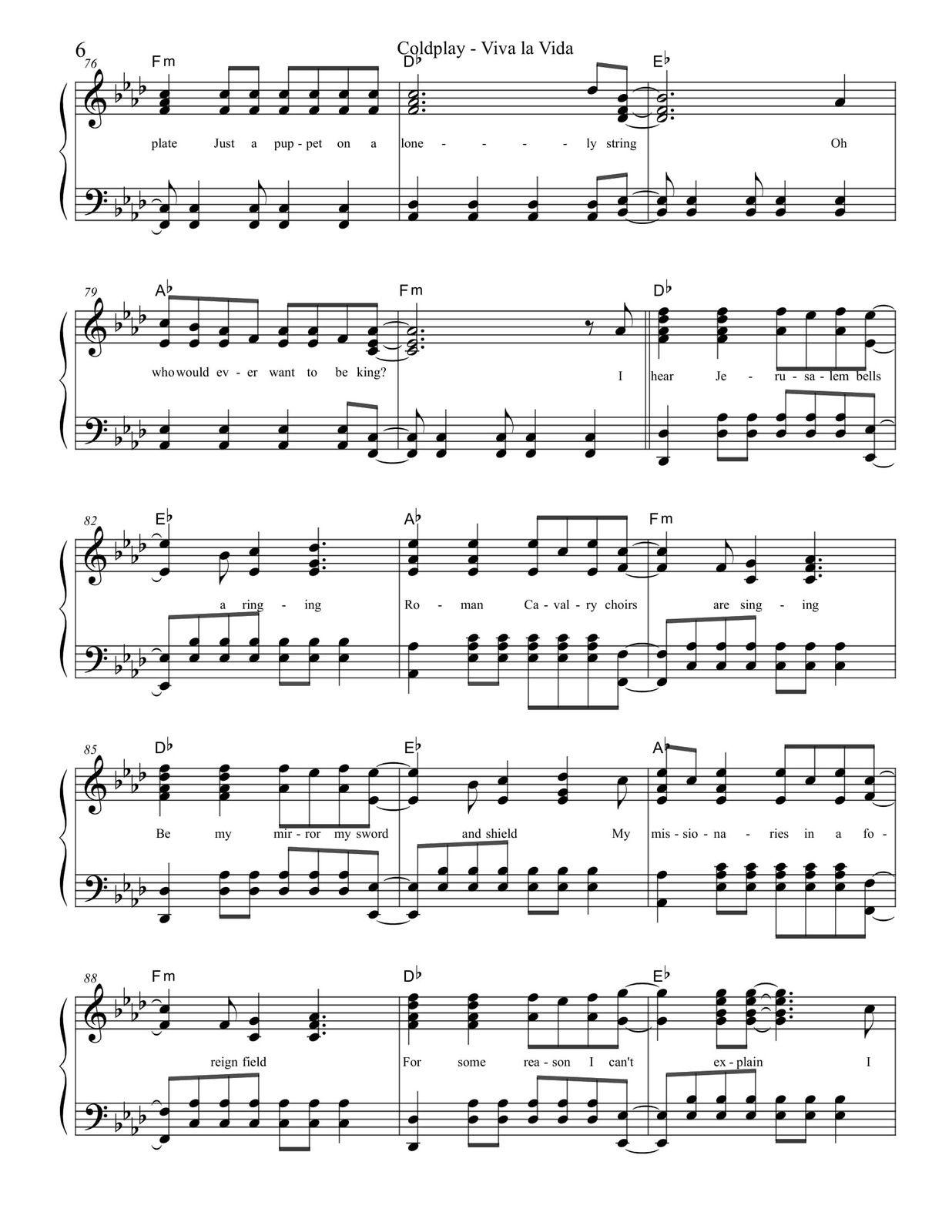 Partitura Para Piano Viva La Vida Coldplay Partituras Para