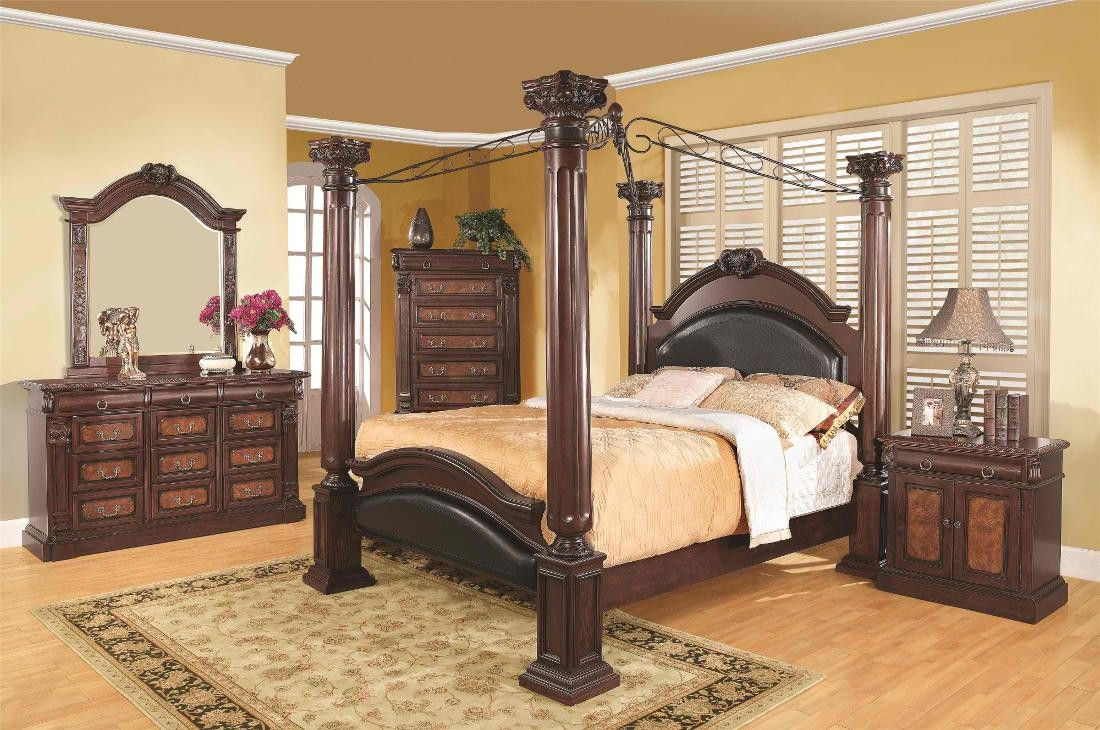 Coaster Grand Prado Poster Bedroom Set With Upholstered Panels In Black