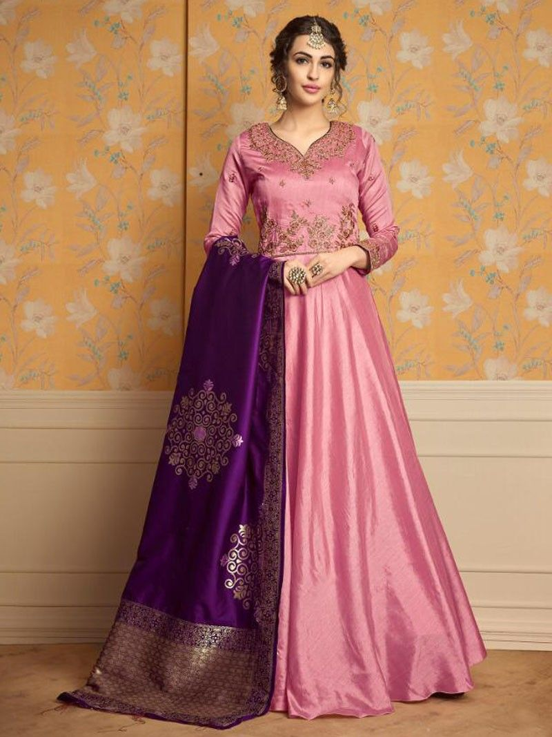 813811af6f4 Latest Indian Designer Pink Color Embroidered Anarkali Suit With Purple  Banarsi Dupatta