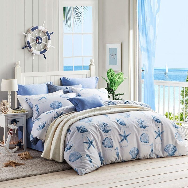 Ocean Blue And White Ocean Themed Seashell Seahorse Seastar And
