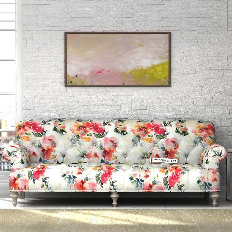 The Allisn Fabric Sofa Has An Extremely Imaginative Design And A Carefully Constructed Frame Made From Hardwood It Ha Floral Sofa Sofa Set Online Furniture