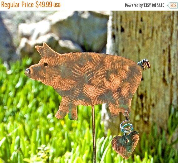 Pig Sculpture Ornament Metal Yard Art Copper Pig Art