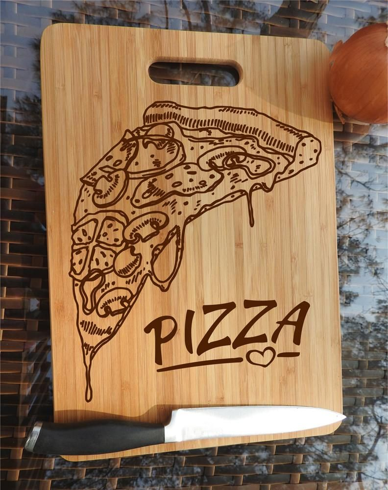 Ikb23 Personalized Cutting Board Wood Eating Pizza Slice Pizza