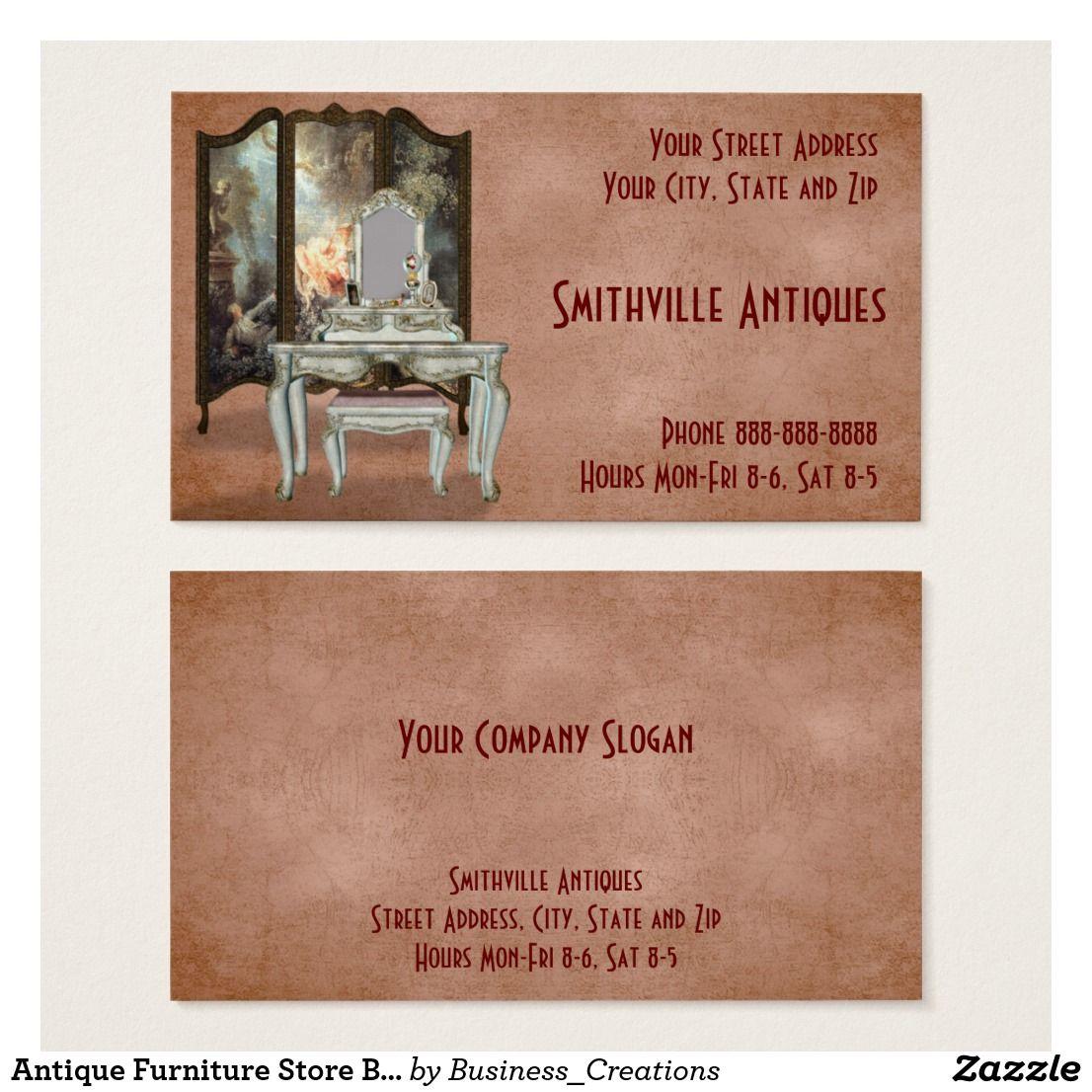 antique furniture store business card | zazzle | antique