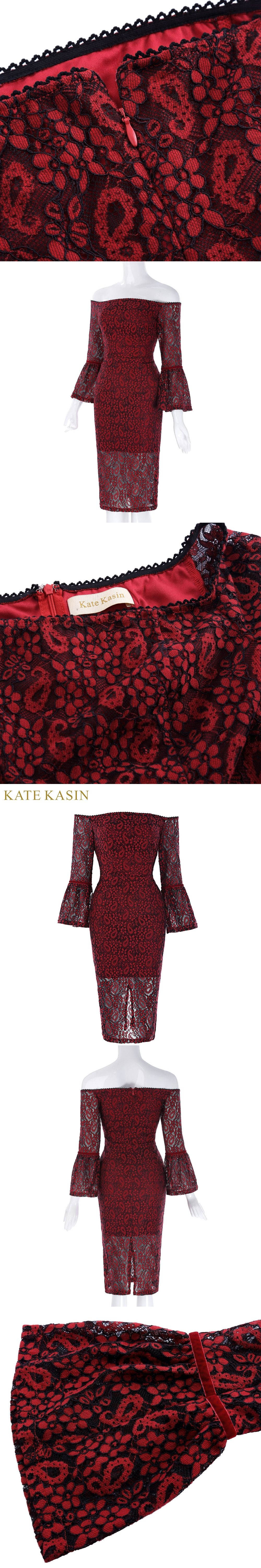 Kate kasin lace short prom dresses red sexy off the shoulder