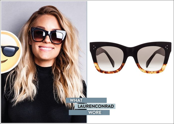 e6c5fd31c Lauren Conrad in Céline sunglasses. They're black, with a toirtoise shell  bottom, creating a really zingy colourblock effect!