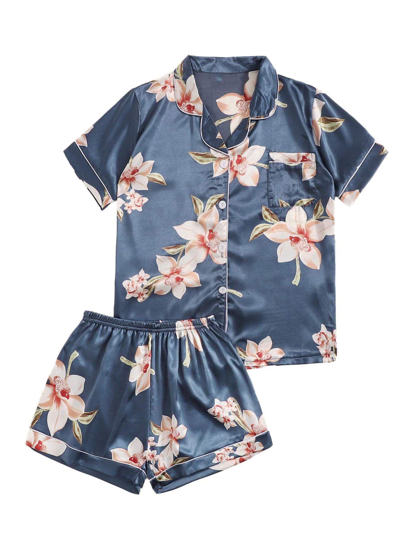 Floerns Womens Notch Collar Shorts Loose Sleepwear Two Piece Pajama Set