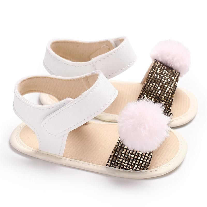 aea04401e9326 Raise Young PU Leather Sequins Summer Baby Girl Sandals Furball Soft Soles  Toddler Girl Shoes Newborn