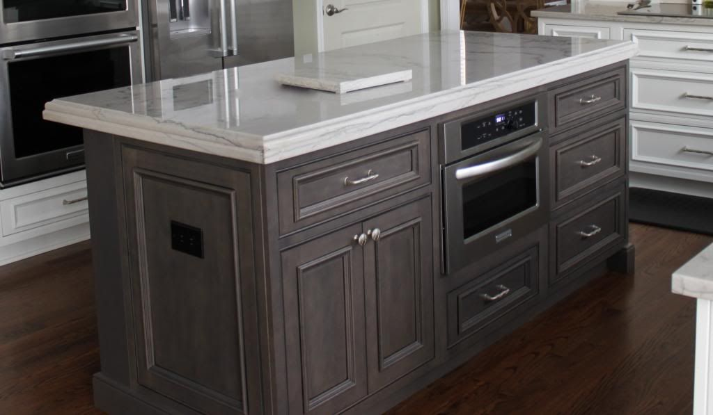 Shiloh polar white on perimeter and silas with black stain for White stain for kitchen cabinets