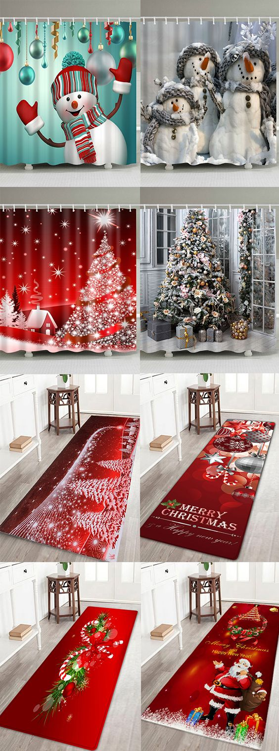 Luv 2cute 50 Off Christmas Shower Curtains And Bath Mats Free Shipping Worldwide Christmas Shower Curtains Easy Christmas Ornaments Christmas Deco