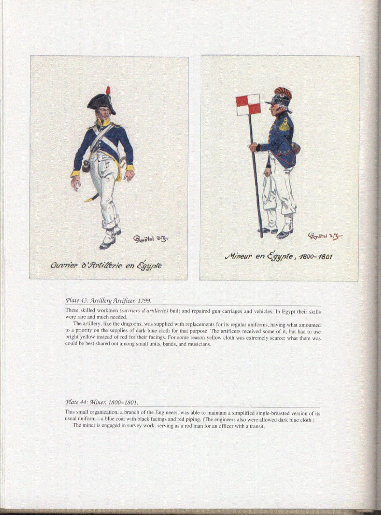 Army of Egypt: Plate 43: Artillery Artificer, 1799. + Plate 44: Miner, 1800-1801.