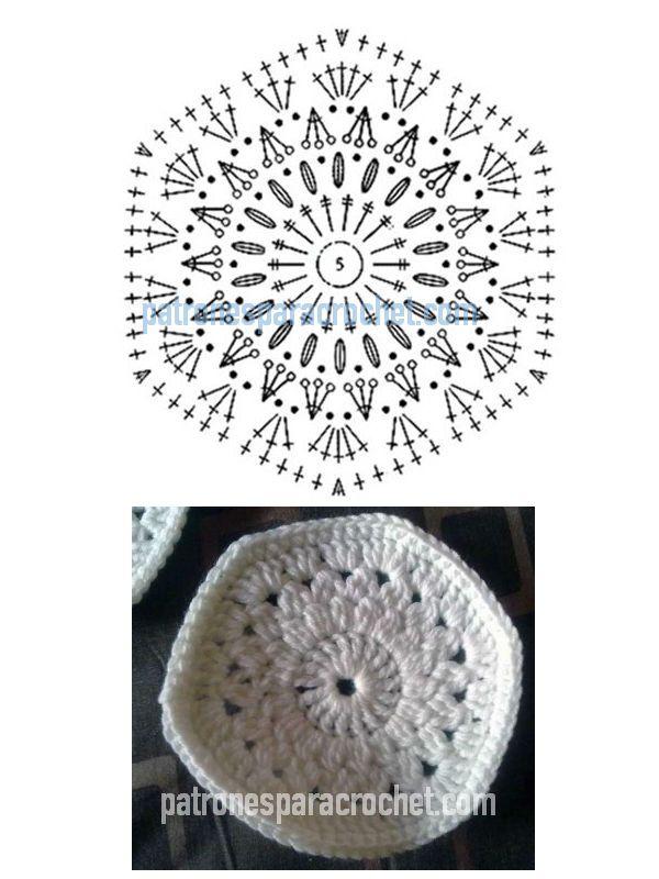 patrón de hexágono para tejer con ganchillo para hacer pantuflas ...