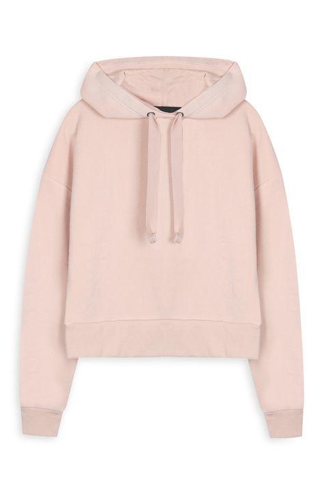 b3226dba4 Primark - Camisola com capuz curta cor-de-rosa Blusa Social Feminina Branca