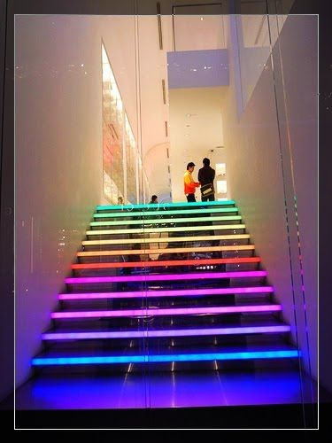 This modern staircase that has multi coloured led strip lights built this modern staircase that has multi coloured led strip lights built in to the edge of each stair not only looks good but helps make sure you never miss a aloadofball Image collections