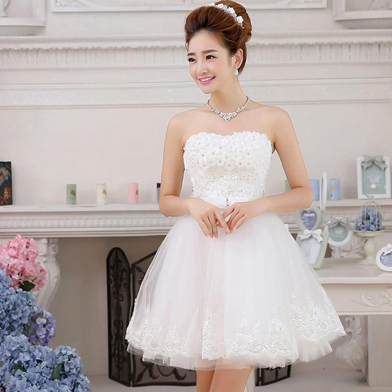New Sweet Lace Short wedding dress Tube Top Beach White Bridal Gown ...
