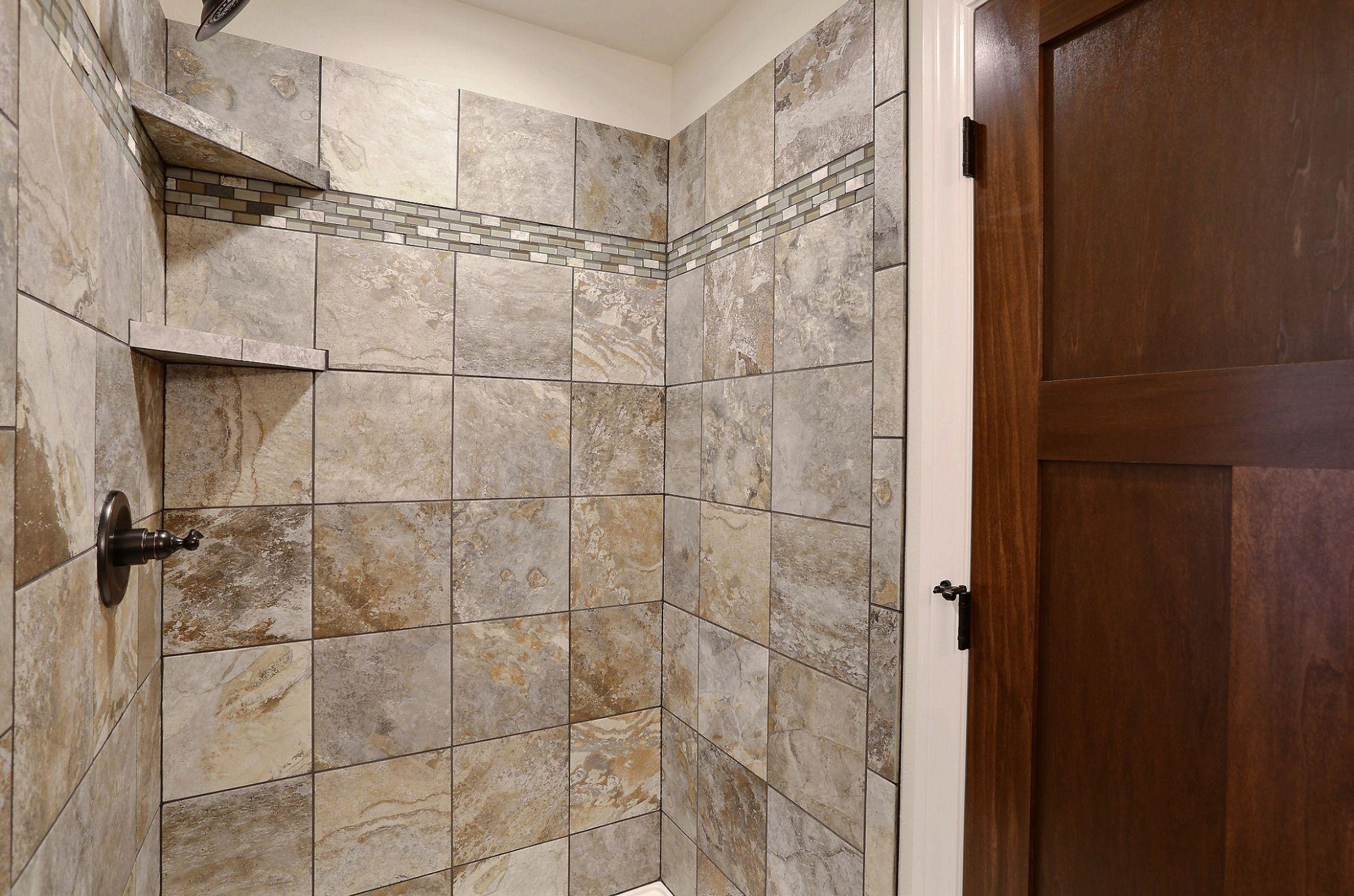Slate tile for bathroom - Tile Shower In Master Azalea Floor Plan Krystal Slate Tile
