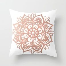 Rose Gold Mandala Throw Pillow | I Like Nice Things ...