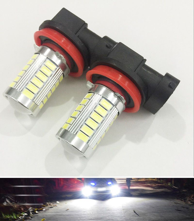 2Pcs Car Led H11 Fog Lights High Power Headlight Bulbs White 12V 18W ...