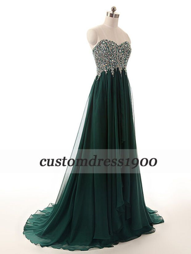 Green long evening dress,sweetheart prom dress,handmade beading ...
