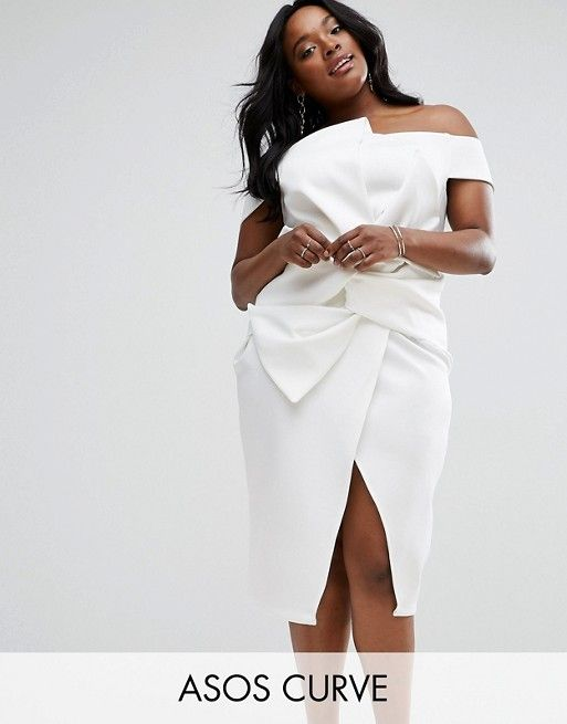 28ce446d39b1e ASOS CURVE PREMIUM Bow Front Twist Off The Shoulder Midi Scuba Dress     Size up to 24