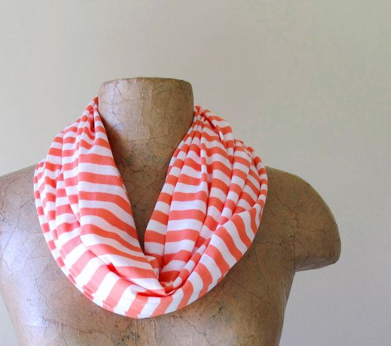 LONG skinny scarf in coral peach and white striped by EcoShag, $16.00