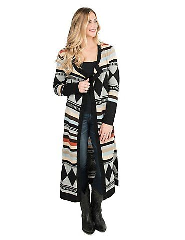 4fe2a456a30 Wrangler Women's Multi Colored Aztec Print Long Sleeve Sweater ...