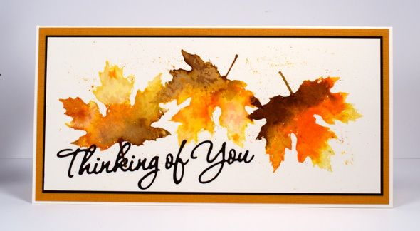 watercolor leaves thinking of you card by Heather Telford